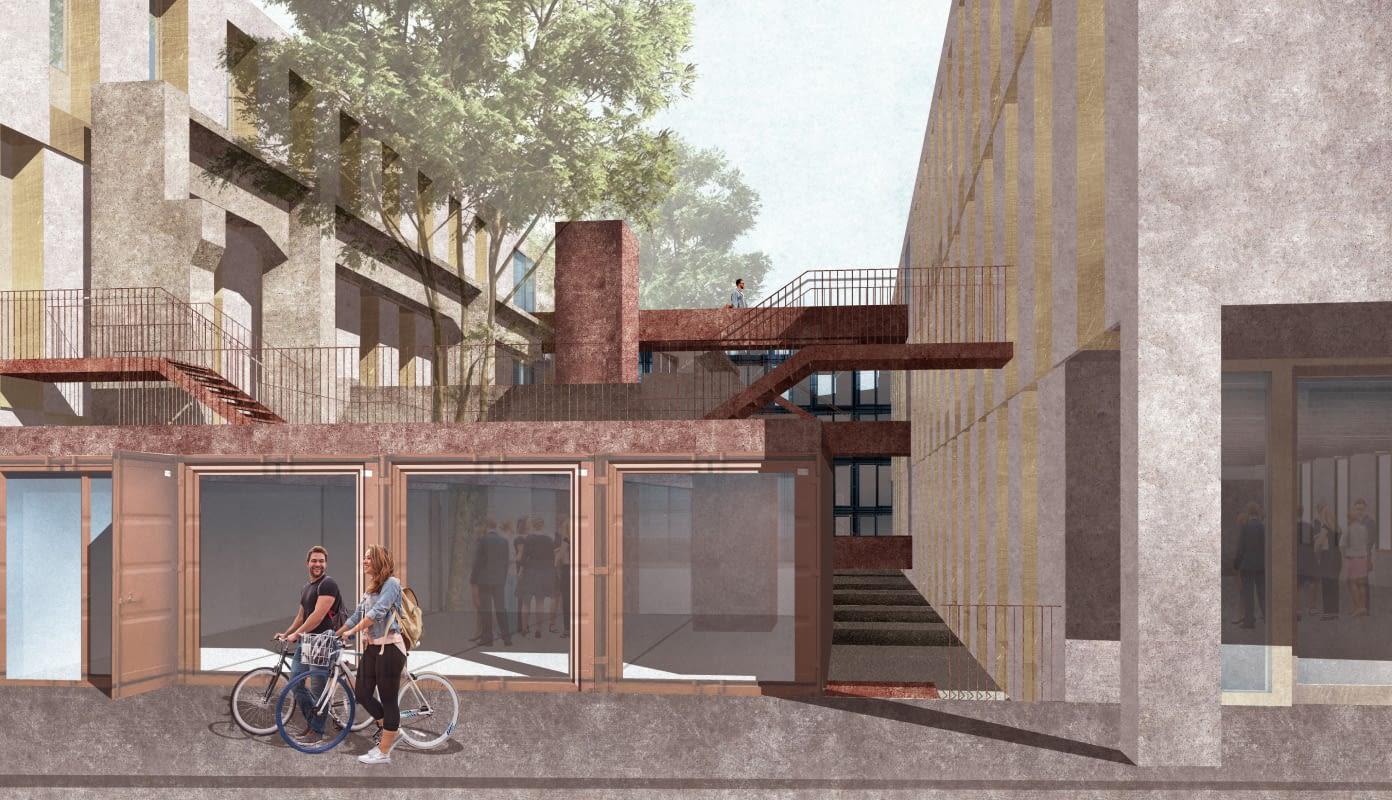 Blick zwischen Werkhaus 1 und 2; im Vordergrund Pavillon 1. Die verbliebenen Betonpfeiler der alten Werkhallen sind sichtbare Marker der historischen Baustruktur