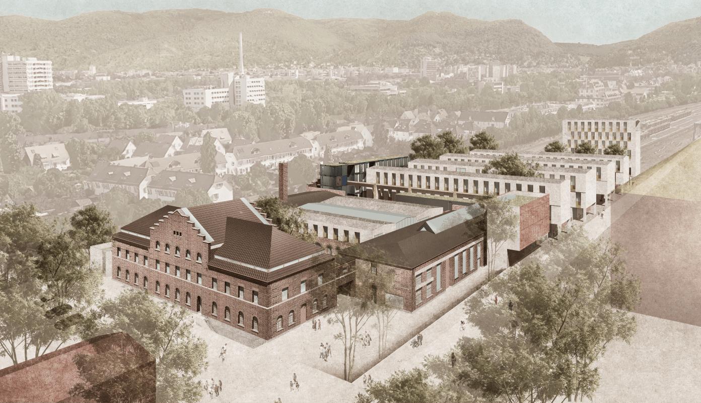Ansichten von Südwesten über das historische Giebelgebäude und die vier Werkhäuser bis hin zum Werkturm