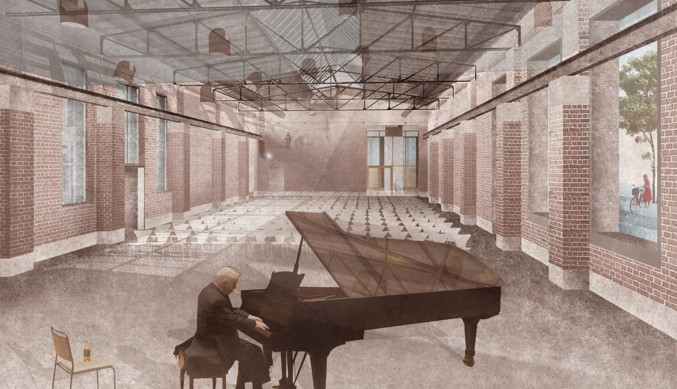 Der große Saal in der Zukunft mit Konzertbestuhlung