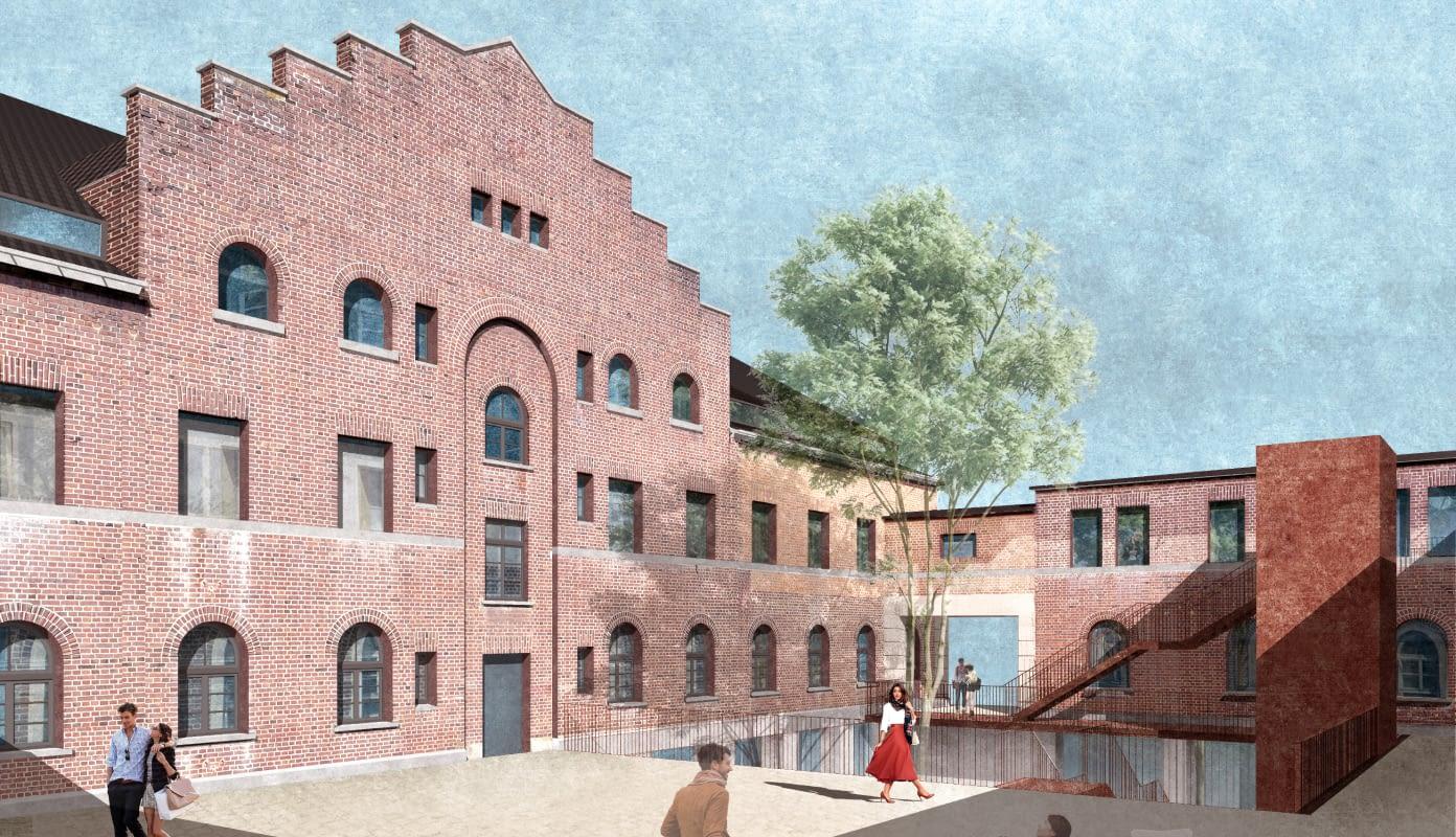Zentraler Eingangshof des denkmalgeschützten Giebelgebäudes, erbaut  im Jahr 1927
