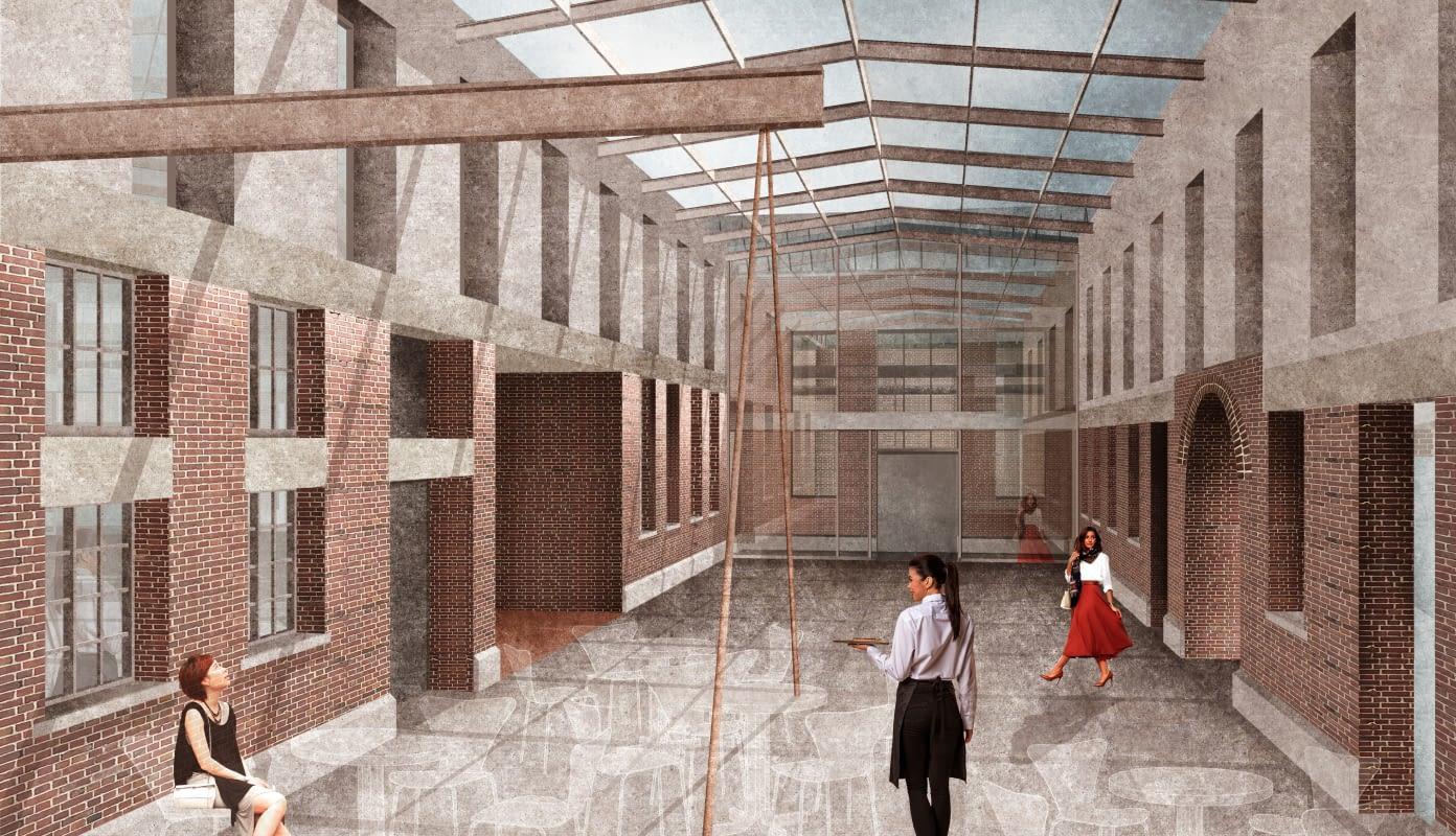 Glasüberdachtes Foyer vor dem großen Saal als zentraler Treffpunkt des BETRIEBSWERKS